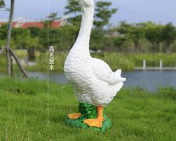 big white goose animal ornaments simulation crafts courtyard