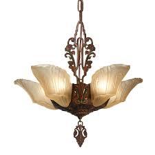 antique art deco slip shade chandelier c 1930 preservation