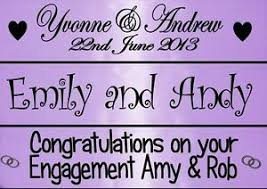 Congratulations Engagement Banner Personalised Lilac Purple Wedding Anniversary Engagement Banner