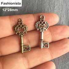 60 small antique bronze antique silver sided skeleton key