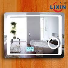 bluetooth bathroom mirror hotel project frosted led bathroom mirror with digital clock