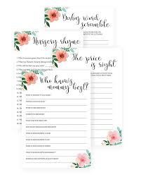 floral baby shower games to print at home instant download