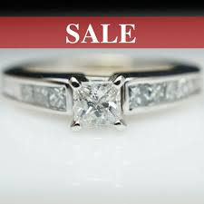 sale vintage engagement ring princess cut ring 14k - Engagement Ring Sale
