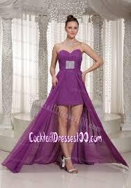 chiffon high low bright purple prom cocktail dresses