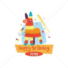 happy birthday card with pinata vector image 1803156
