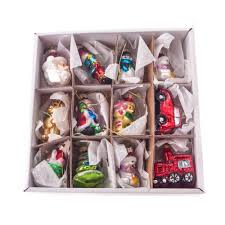 Gisela Graham Glass Easter Decorations by Gisela Graham Christmas Box Of 12 Painted Glass Retro Mini