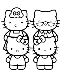 hello kitty family coloring page free printable coloring pages