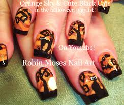 nail art tutorial diy easy halloween nails cute black cats