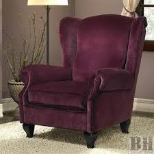 chicago purple velvet wing back club chair wholesale bright home