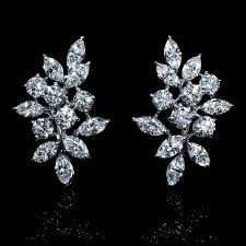 cluster earrings ct diamond 18k white gold cluster earrings