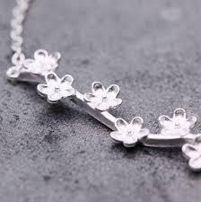 silver flowers sterling silver flowers on stem bracelet nunu jewellery