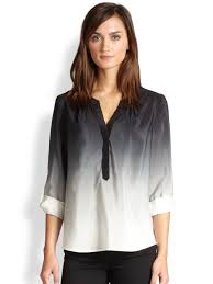 ombre blouse lyst milly silk ombre blouse in black