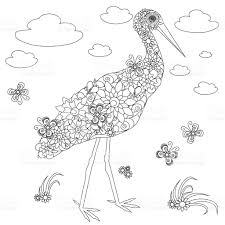 flowers stork coloring page antistress stock vector art 638262404