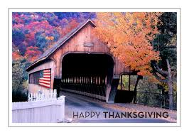 happy american thanksgiving covered bridge and american flag thanksgiving card