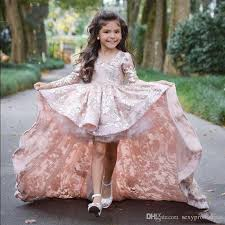 pink dress for wedding pink high low sleeve flower dresses for wedding lace