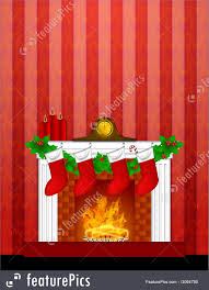 holidays fireplace christmas decoration with stockings and