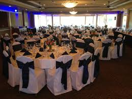 chair cover rental wedding navy blue satin sash tie on white poly chair cover