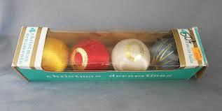 vintage set of satin ornaments in original box in
