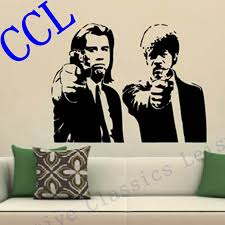wall stickers banksy reviews online shopping wall stickers free shipping banksy jules and vincent pulp fiction movie wall art decal decor mural sticker vinyl poster