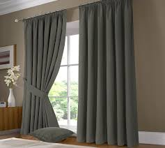 Slate Gray Curtains Fully Lined Thermal Solar 100 Blackout Pair Of Tie Back Curtains