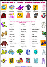 clothes and accessories matching exercise esl worksheet clothing