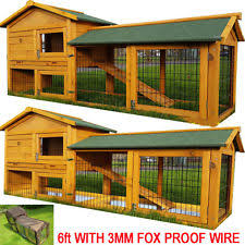 Rabbit Hutch With Detachable Run Small Animals Hutch With Run Ebay