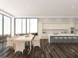kitchen and dining room upmarket open plan kitchen and dining room with a contemporary
