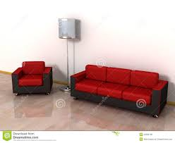 Cheap Red Leather Sofas by Red Leather Sofa Arm Chair And Stylish Floor Lamp Royalty Free