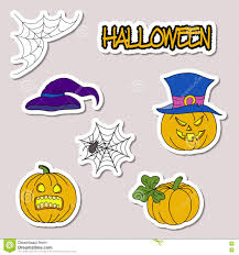 doodle cartoon patch badges or stickers halloween theme pumpkin