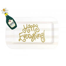 happy everything plate happy everything white stripe mini rectangle platter