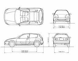 length of a honda civic honda civic 1992 blueprint free blueprint for 3d modeling