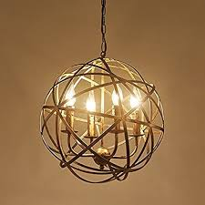 Rustic Candle Chandelier Industrial Vintage Rustic Wrought Iron Style Aged Brass Candle