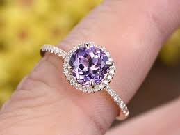 purple diamond engagement rings amethyst diamond engagement ring