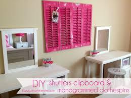 Diy Cute Room Decor Diy Shutters Clipboard U0026 Monogrammed Clothespins Simplykierste Com