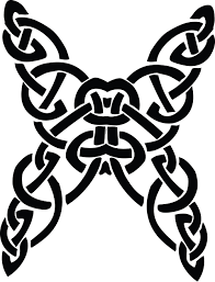 clipart of a butterfly celtic knot in black and white