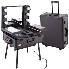 Vanity Case Beauty Studio Black Pro Studio Aluminum Professional Makeup Artist Rolling