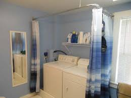 white blue laundry room curtains with custom stainless curtain