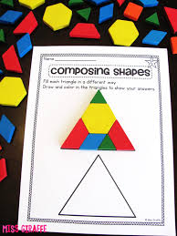 First Grade Geometry Worksheets Miss Giraffe U0027s Class Composing Shapes In 1st Grade