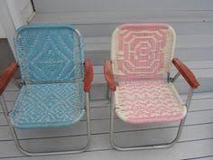 Patio Lawn Chairs Vintage Aluminum Macrame Patio Lawn Porch Folding Chairs Choose