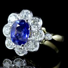 antique rings sapphire images Antiques atlas sapphire diamond ring cluster 18ct gold jpg