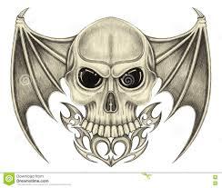 art skull wings devil tattoo stock illustration illustration
