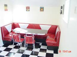 Kitchen Lovely Retro U Shaped Red Sofas With White Long Coffee