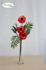 Artificial Lilies In Vase Tropical Red Gerberas In Glass Vase Artificial Silk Flower Arrangement