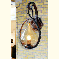 Antique Iron Sconces Seedy Glass Hanging Wrought Iron Wall Light Sconces