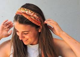 hippy headband fabric headband orange headband wide headband hippie