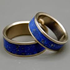 Blue Wedding Rings by Stone U0026 Concrete Inlay Titanium Wedding Rings Minter And Richter