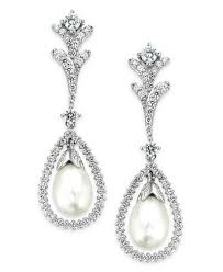 bridal drop earrings arabella bridal cultured freshwater pearl 7mm and swarovski