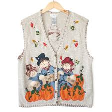 thanksgiving vest scarecrow and pumpkins fall thanksgiving vest