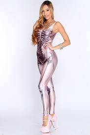 Skeleton Jumpsuit Pink Skeleton Print Body Con Jumpsuit