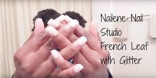 nailene nail studio french leaf with glitter press on glue on